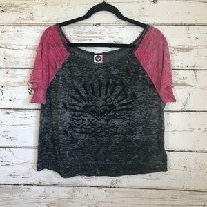 Roxy Burn out Graphic Short Sleeve Top